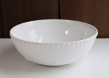 "Large White Salad Bowl Pottery ""Daisy"""