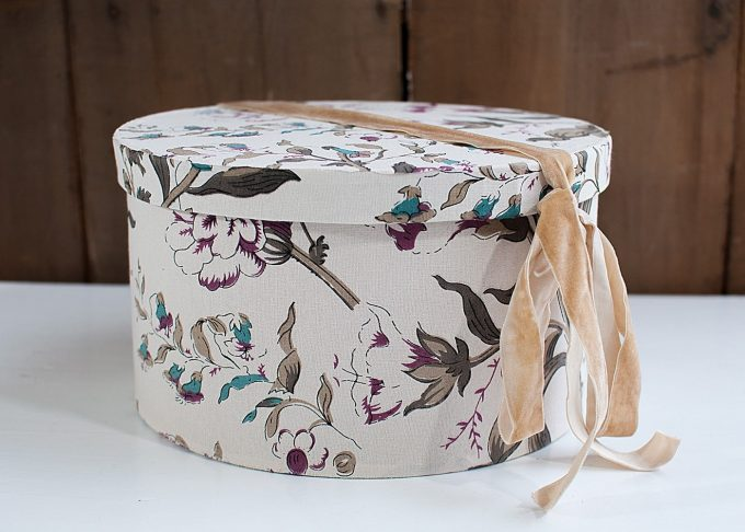 Small Hat Box Storage Flower Pattern from Jeanne d'Arc Living