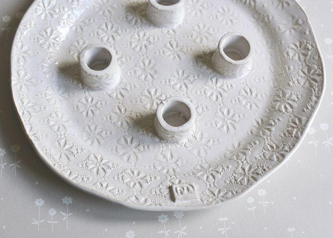 Handgjort vitt ljusfat | Petra Lunds Lera | Willekulla Lantlig Inredning | ovanifrån