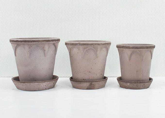 Elizabeth Handmade Flowerpots Grey Color from Bergs Potter - 3 flower pots