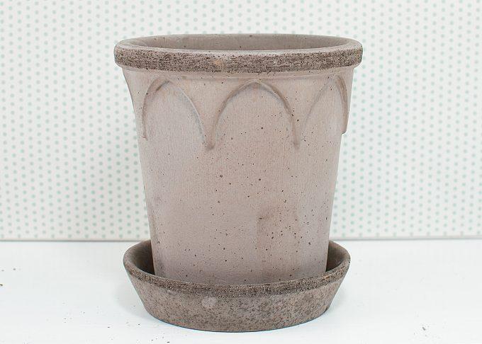Elizabeth Handmade Flowerpot Grey Color ⌀ 14 cm from Bergs Potter - Front