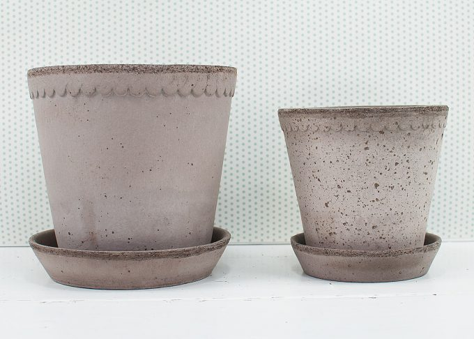 Helena Handmade Flowerpot Grey Color from Bergs Potter - 2 flower pots