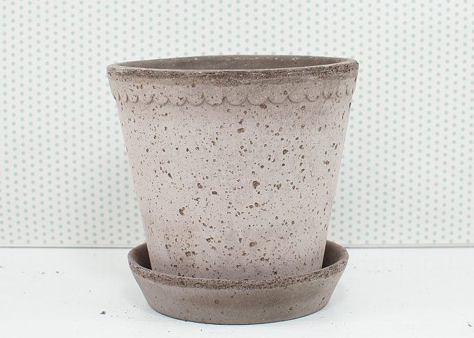 Helena Handmade Flowerpot Grey Color ⌀ 14 cm from Bergs Potter - Front