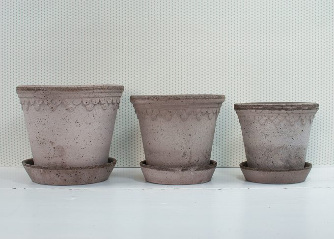 Kopenhagen Handmade Flowerpots Grey Color from Bergs Potter - 3 flower pots