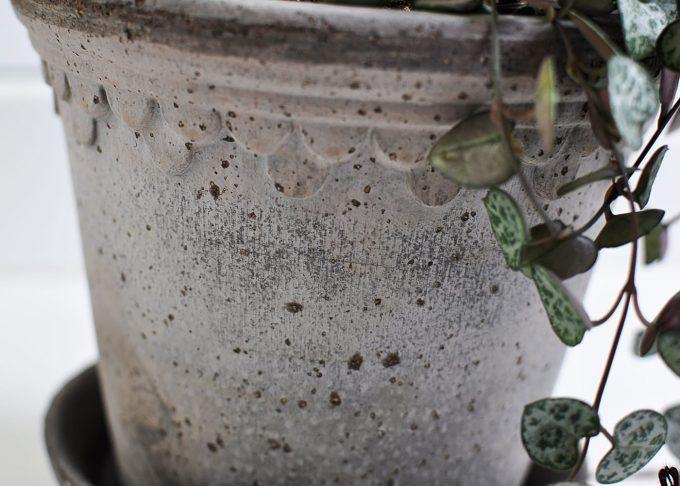 """Handgjord grå kruka ⌀ 14 cm """"Köpenhamn""""   Bergs Potter   Willekulla Lantlig Inredning   närbild"""