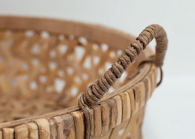 Stor flätad korg i bambu Ø 44 cm | Ib Laursen | Willekulla Lantlig Inredning - handtag