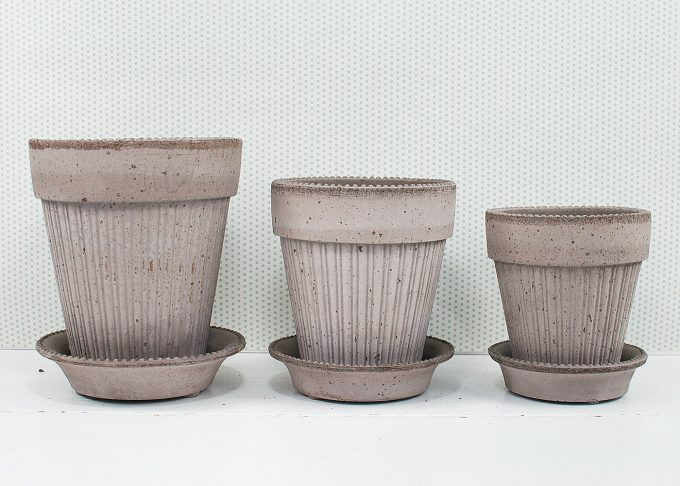 Simona Handmade Flowerpots Grey Color  from Bergs Potter - 3 flower pots
