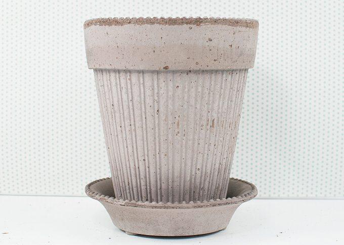 Simona Handmade Flowerpot Grey Color ⌀ 18 cm from Bergs Potter - Front